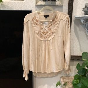 Cream peasant top with embroidered detail blouse
